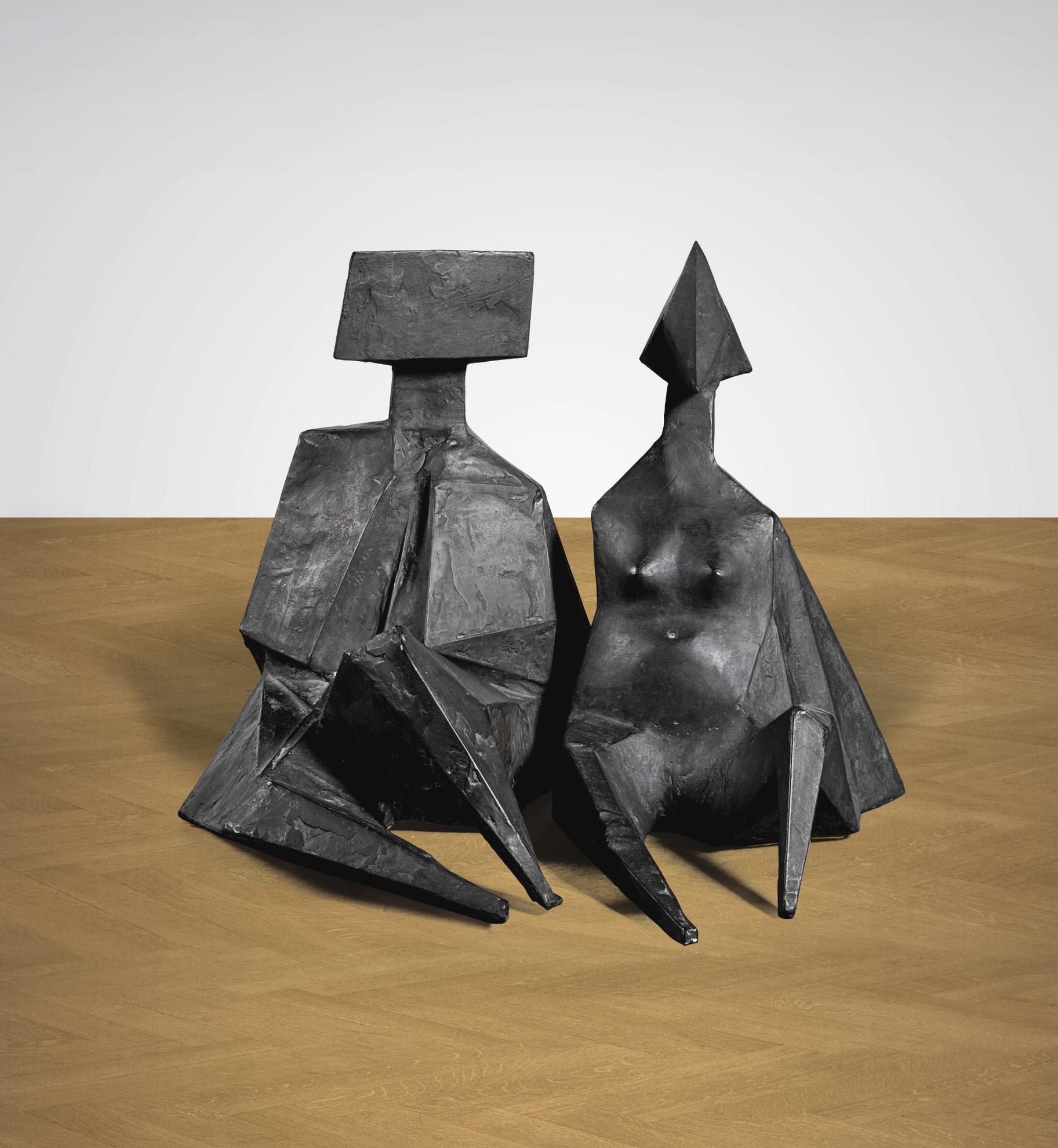 Lynn Chadwick-Pair Of Sitting Figures Ii-1974