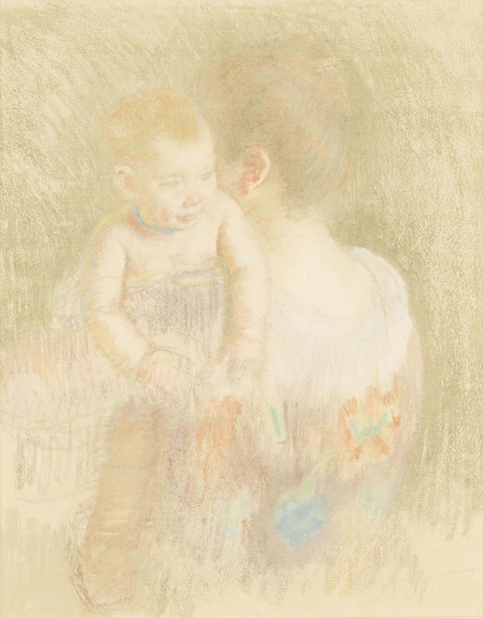 Mary Cassatt-Baby Charles Looking Over His Mothers Shoulder (No. 2)-1900