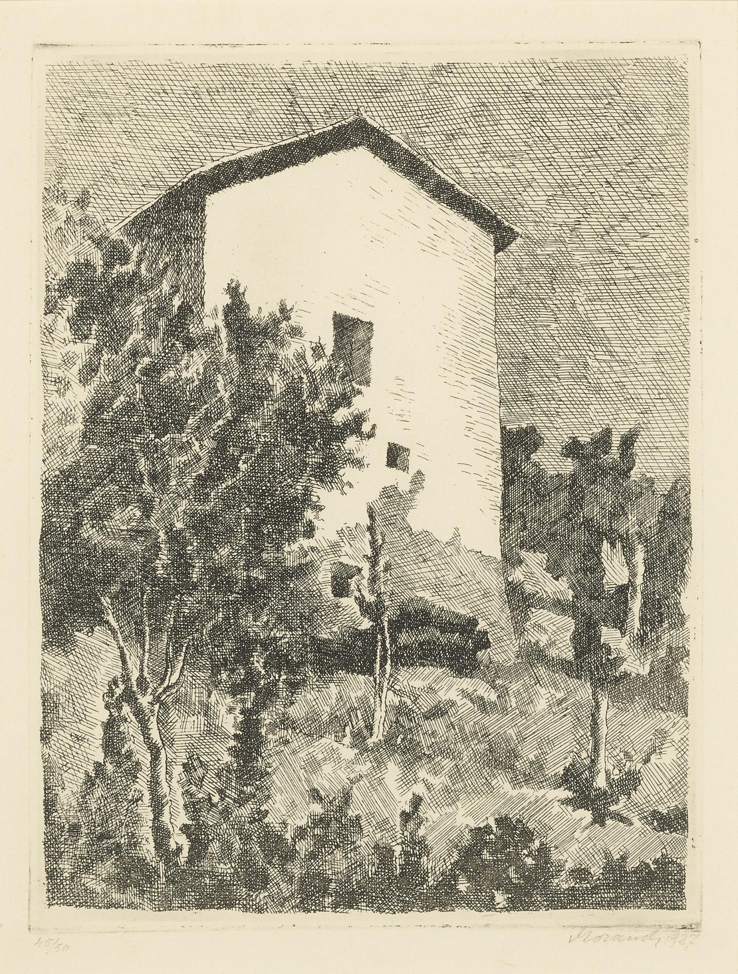Giorgio Morandi-Paesaggio (Casa A Grizzana) (Vitali 32)-1927