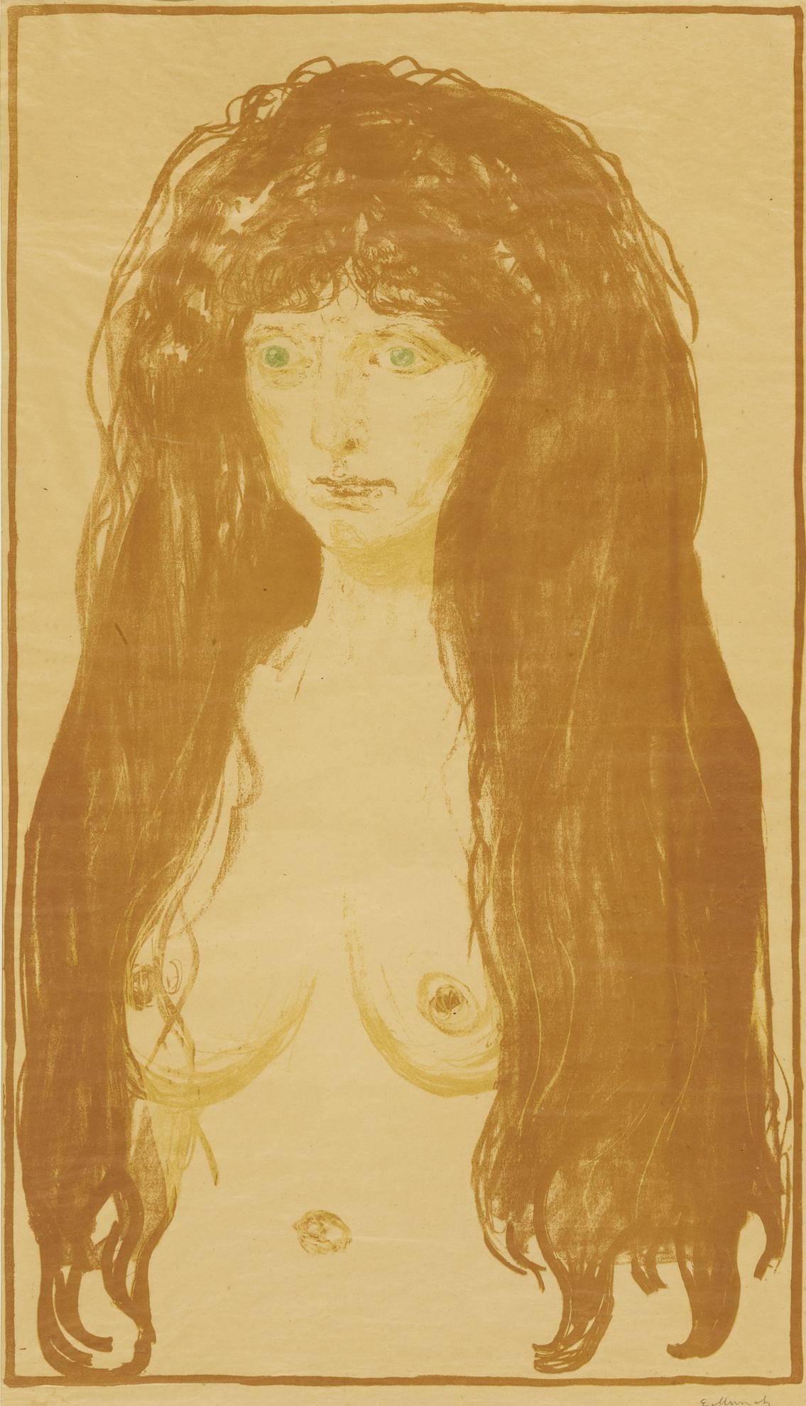 Edvard Munch-Woman With Red Hair And Green Eyes. The Sin (Schiefler 142; Woll 198)-1902