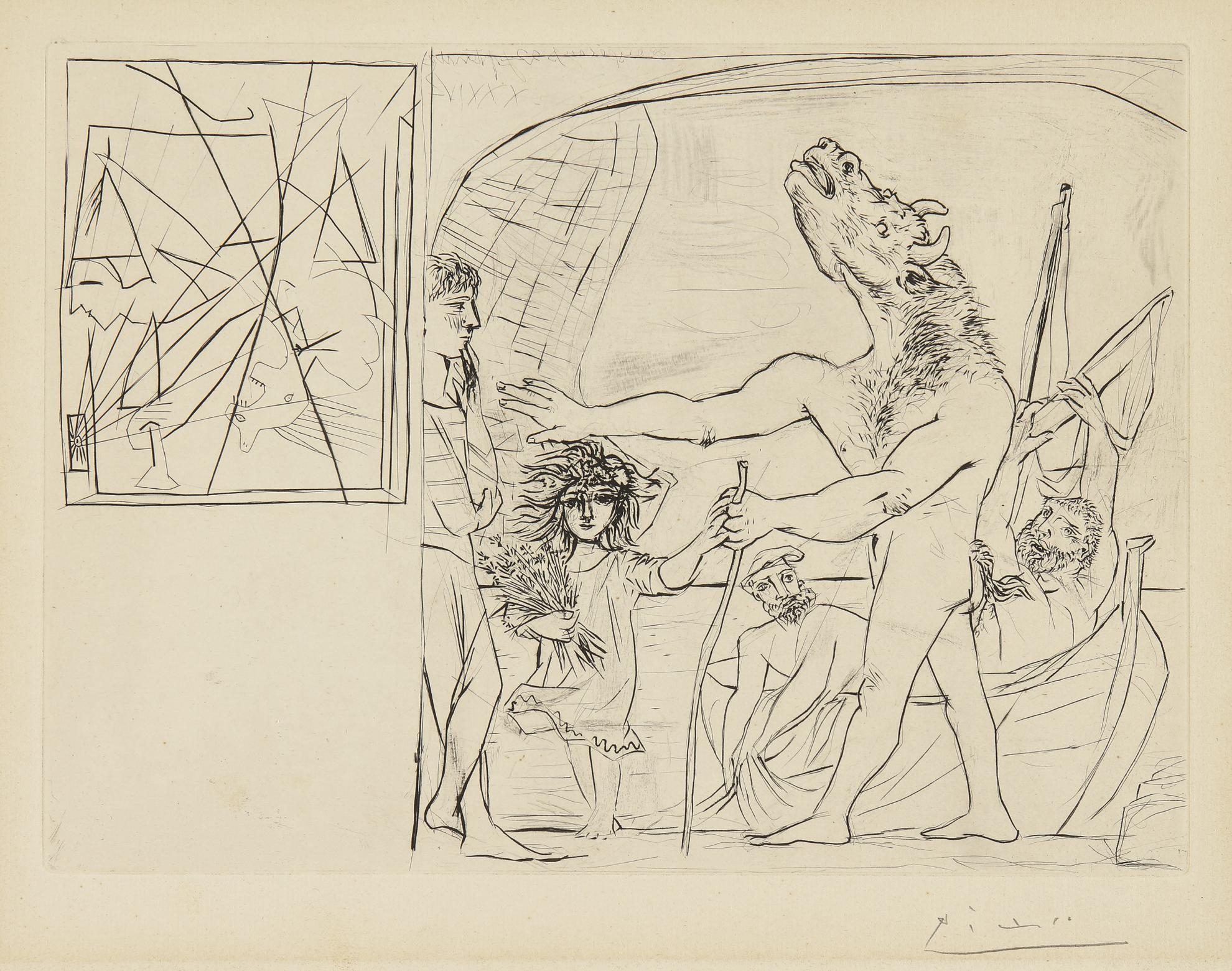 Pablo Picasso-Minotaure Aveugle Guide Par Une Petite Fille Aux Fleurs (Bloch 222; Baer 434)-1934