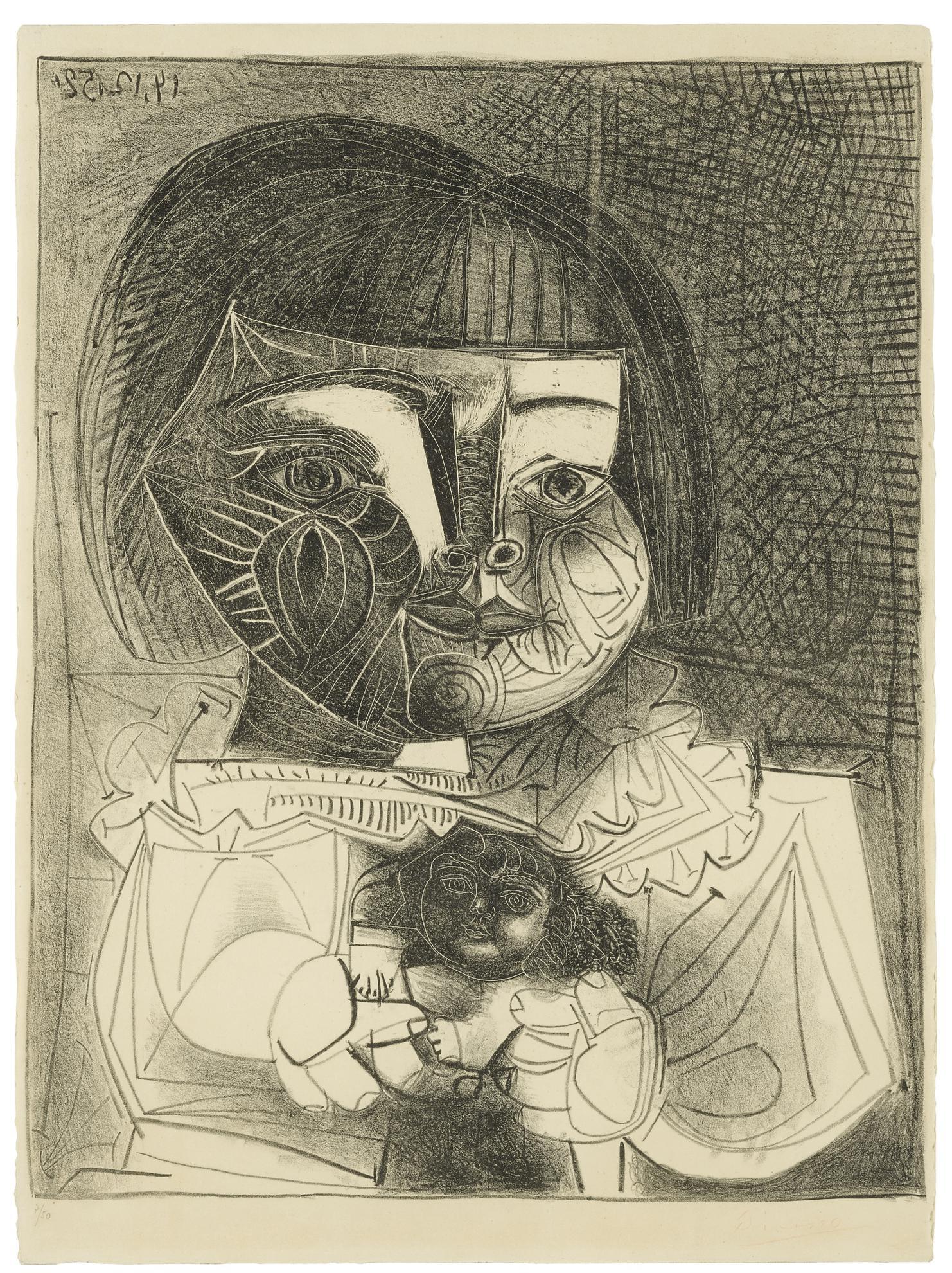 Pablo Picasso-Paloma Et Sa Poupee Sur Fond Noir (B. 727; Mourlot 229)-1952