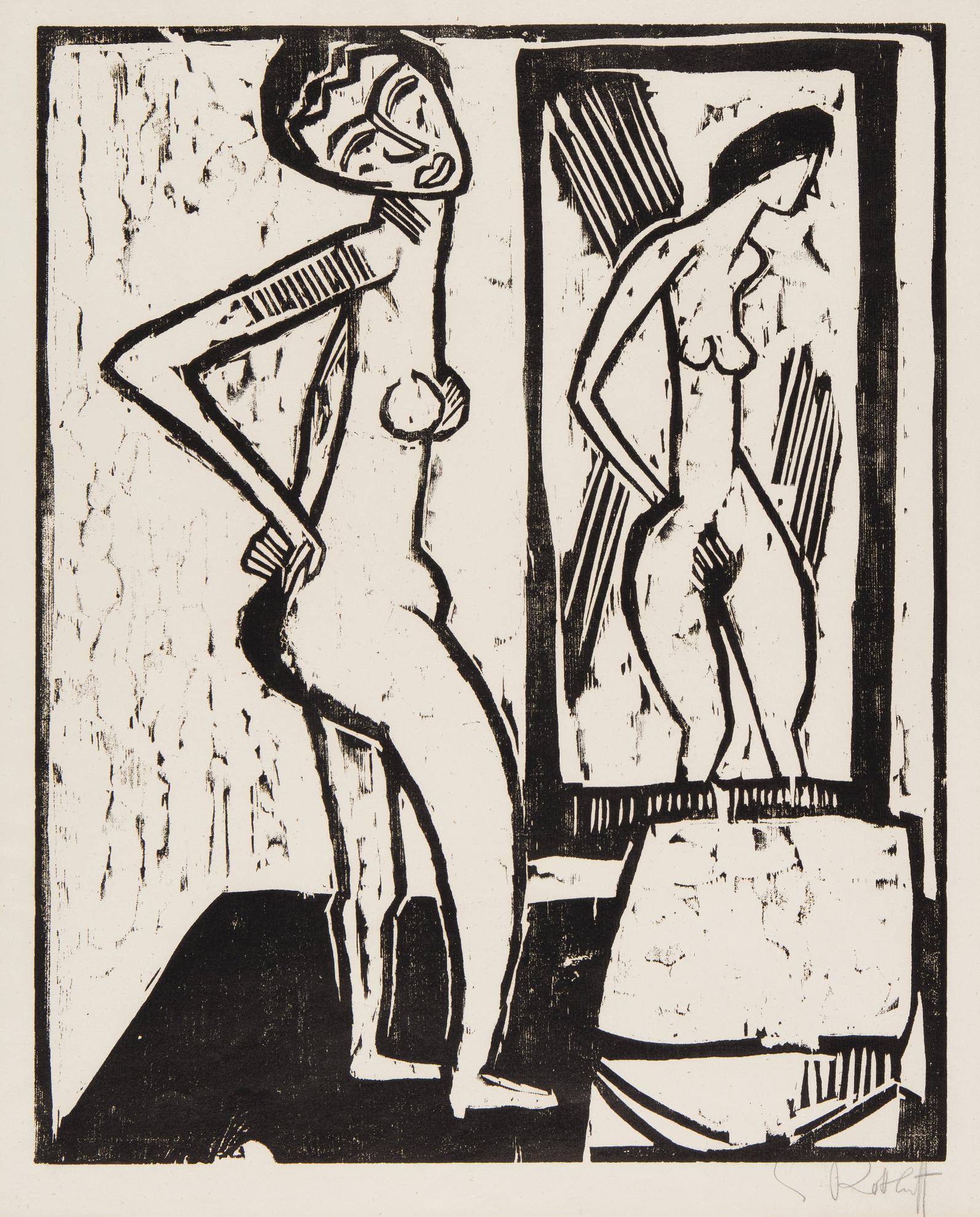 Karl Schmidt-Rottluff-Madchen Vor Dem Spiegel (Schapire H. 159)-1914