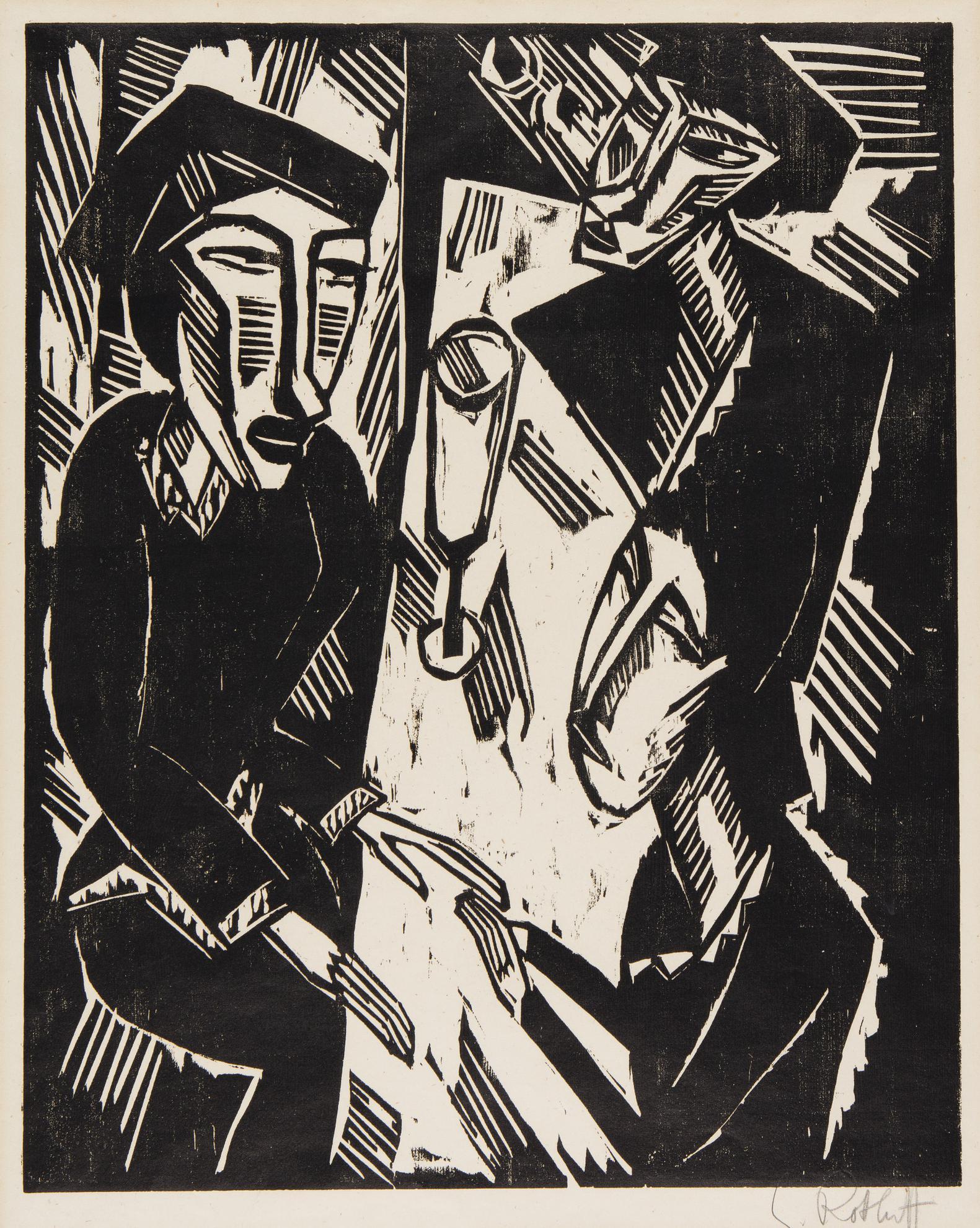 Karl Schmidt-Rottluff-Drei Am Tisch (S. H. 167)-1914