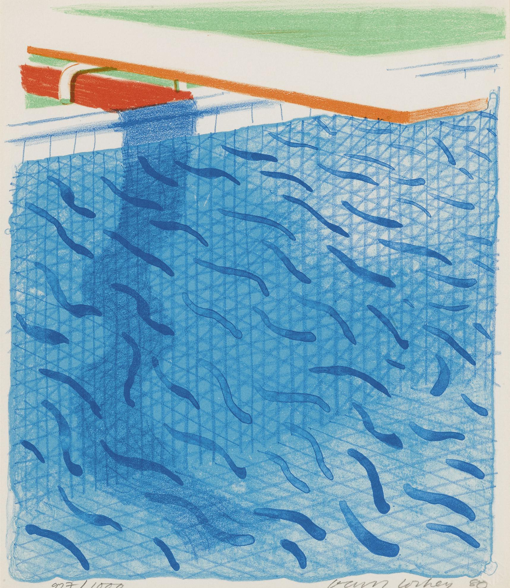 David Hockney-Pool Made With Paper And Blue Ink For Book (M.C.A.T. 234; Tyler 269)-1980