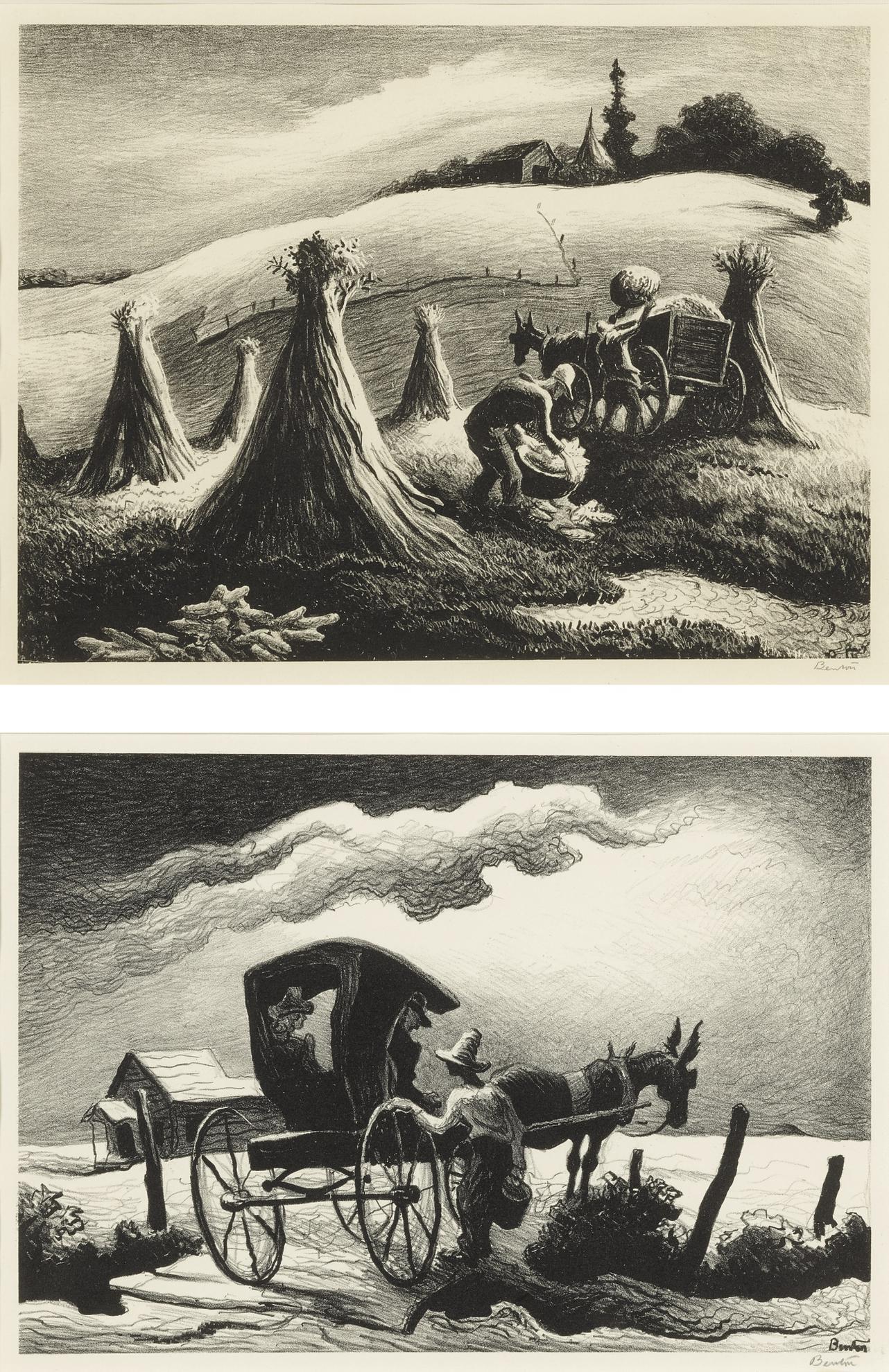 Thomas Hart Benton-Loading Corn; And Gateside Conversation (Fath 65 & 69)-1946