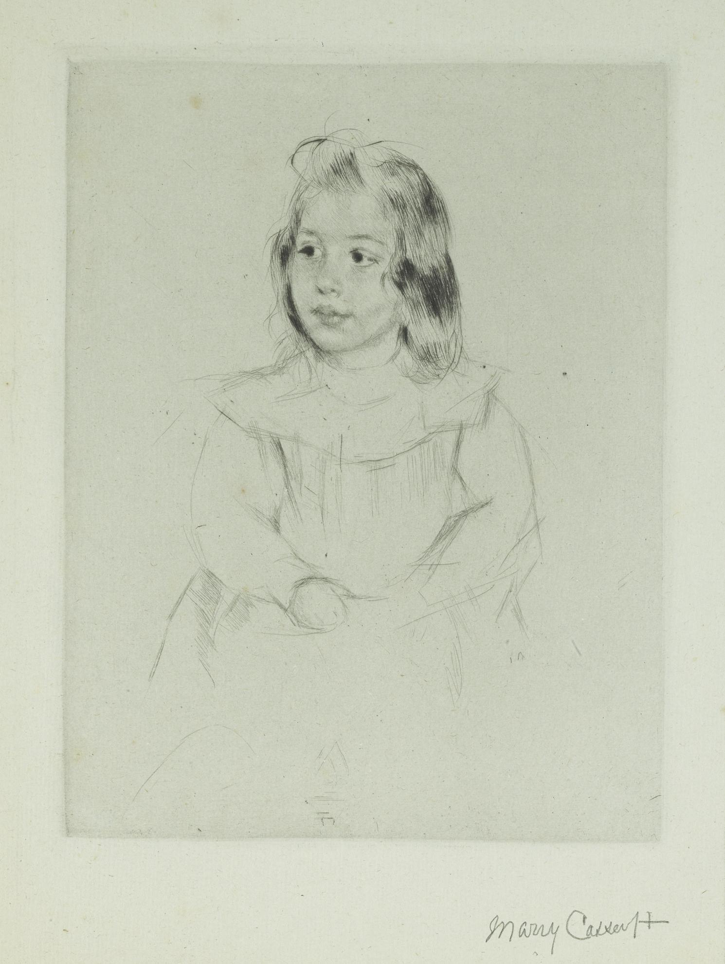 Mary Cassatt-Simone With Clasped Hands Looking Left (B. 190)-1903