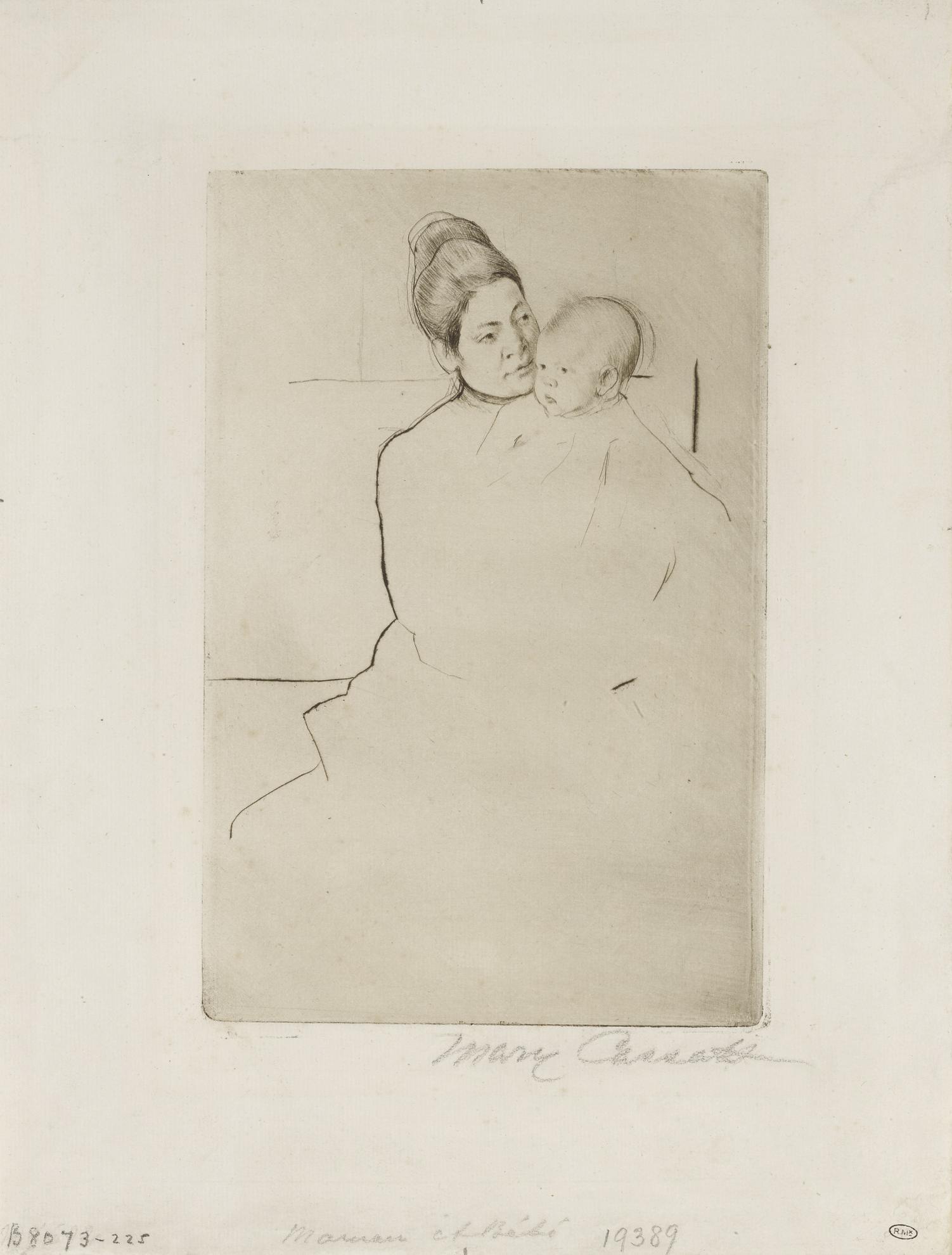 Mary Cassatt-Gardner Held By His Mother (B. 113)-1887