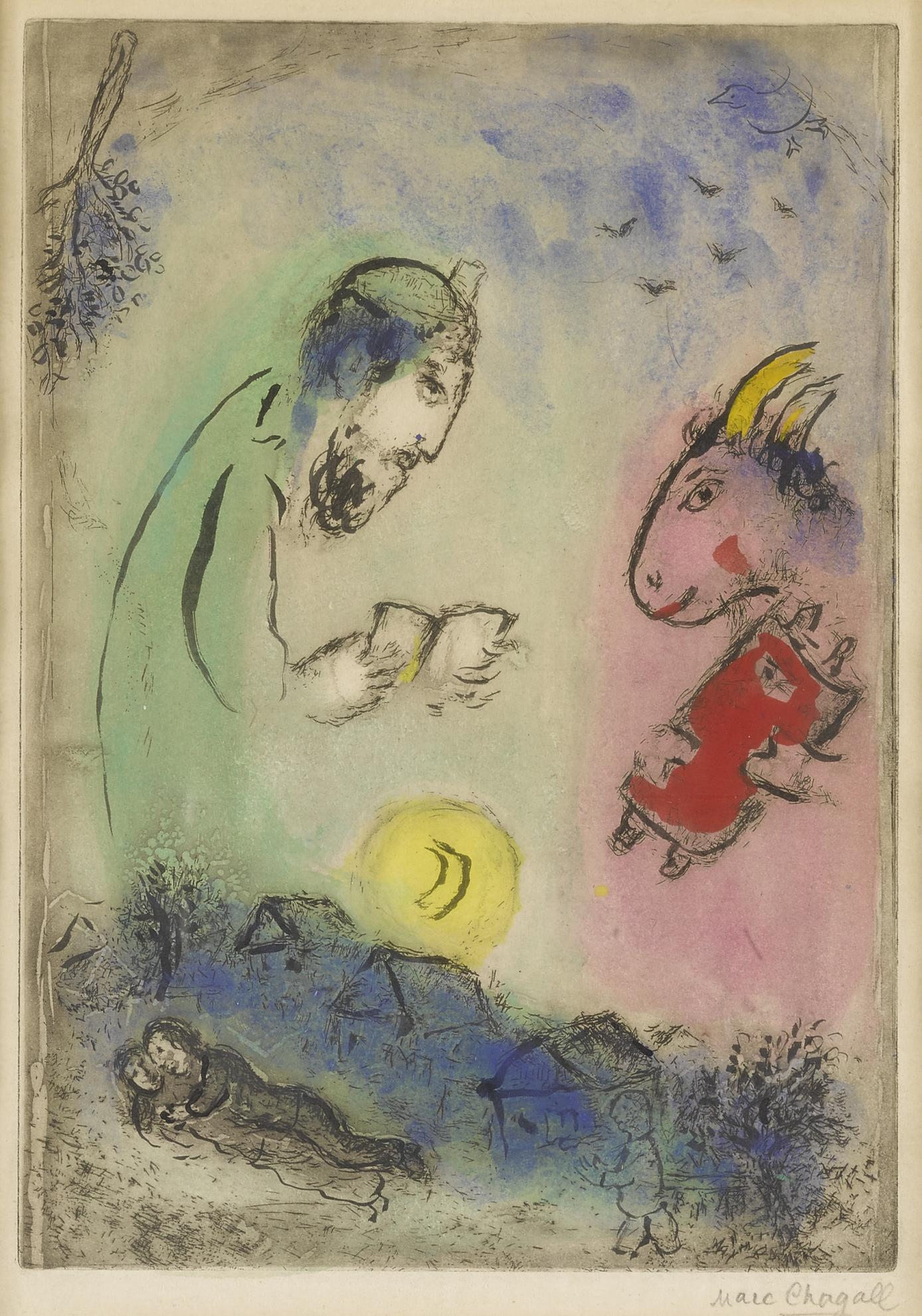 Marc Chagall-Der Esel Uber Dem Dorf (Kornfeld 100 Iv B)-1952