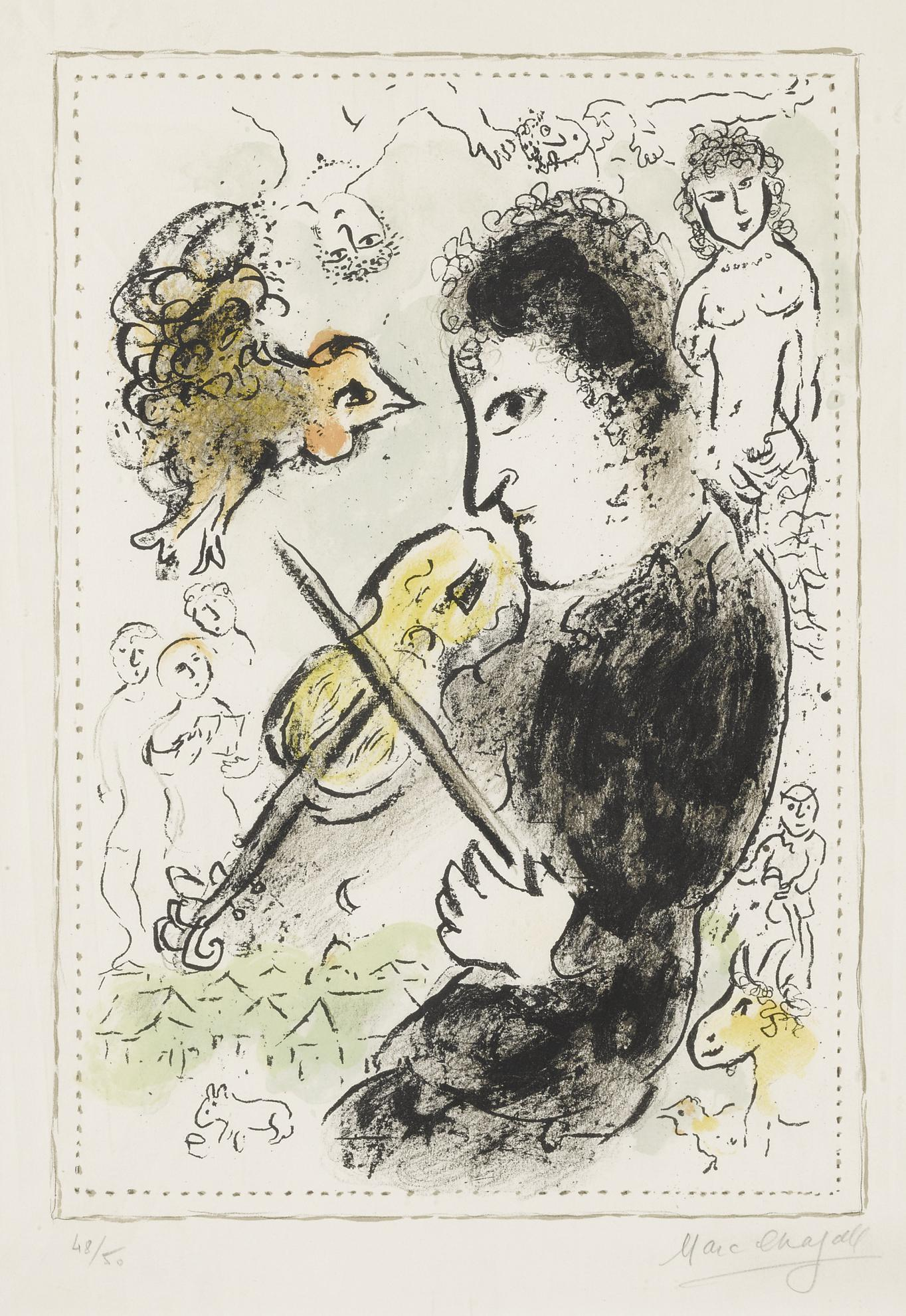 Marc Chagall-Violinist With Cock (Mourlot 1000)-1982