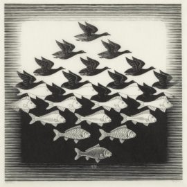 Maurits Cornelis Escher-Sky And Water I (B./K./L./W. 306)-1938