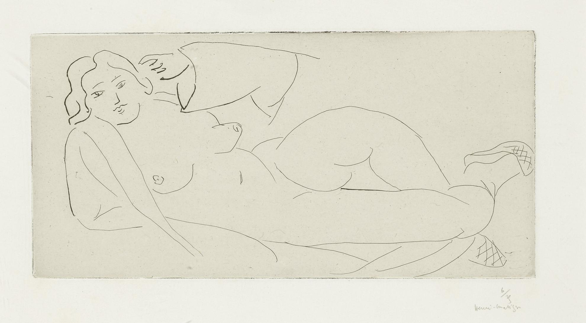 Henri Matisse-Nu Allonge, Aux Babouches De Paille Tressee (D. 231)-1931