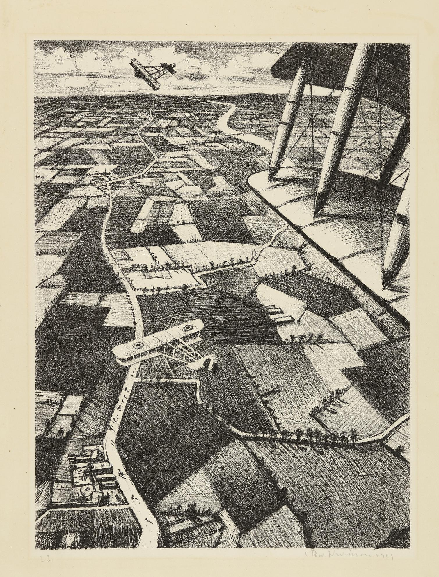 C. R. W. Nevinson - In The Air (Leicester Galleries 24; Black 19)-1917