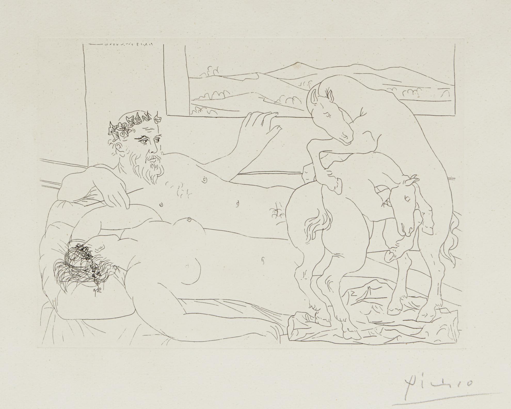 Pablo Picasso-Vieux Sculpteur Et Modele Assoupi... (B. 173; Ba. 326)-1933