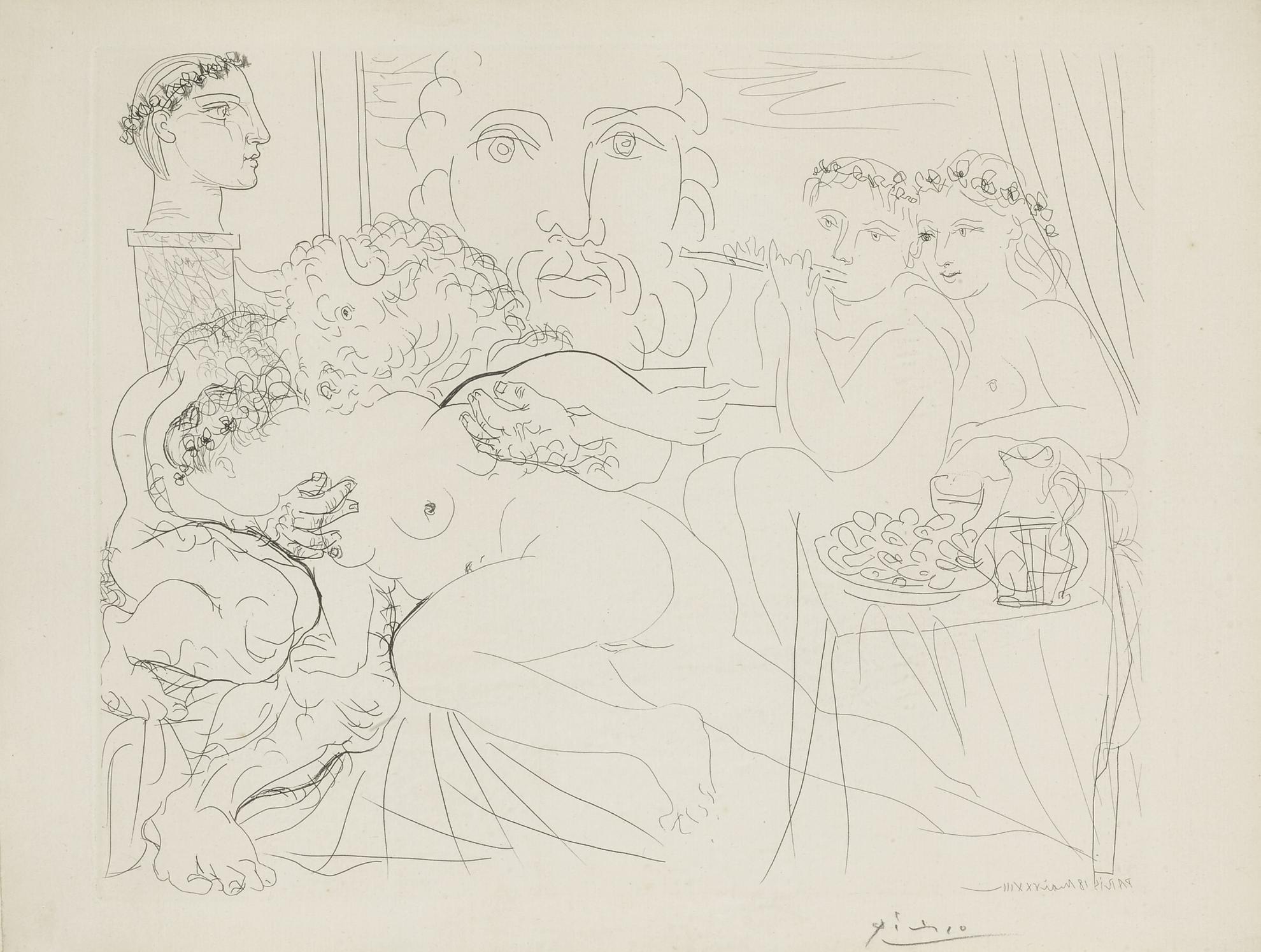 Pablo Picasso-Autoportrait Sous Trois Formes... (B. 191; Ba. 350)-1933