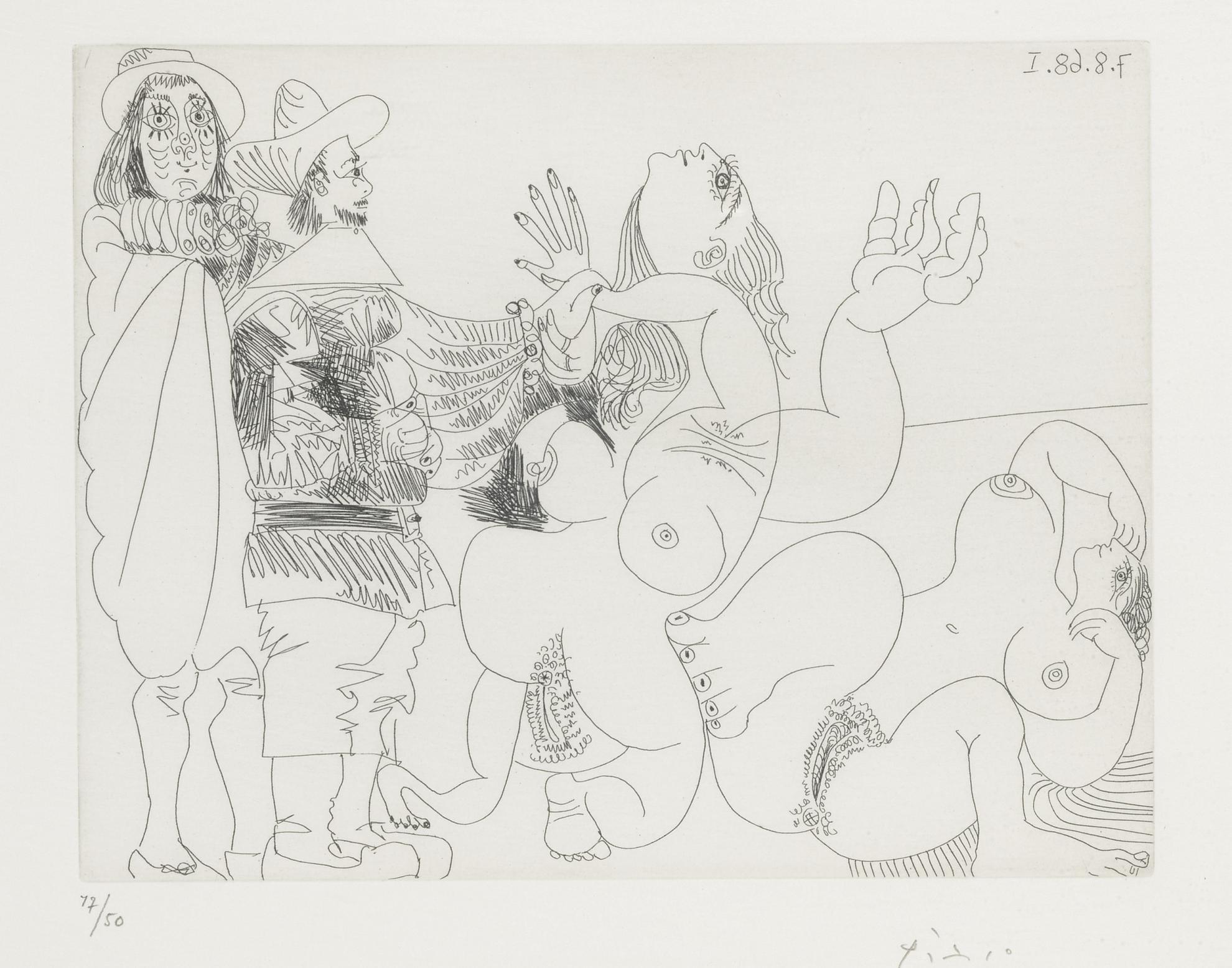 Pablo Picasso-Jeune Seigneur Fantoche Avec Un Reitre, Et Deux Femmes Nues (B. 1734; Ba. 1751)-1968