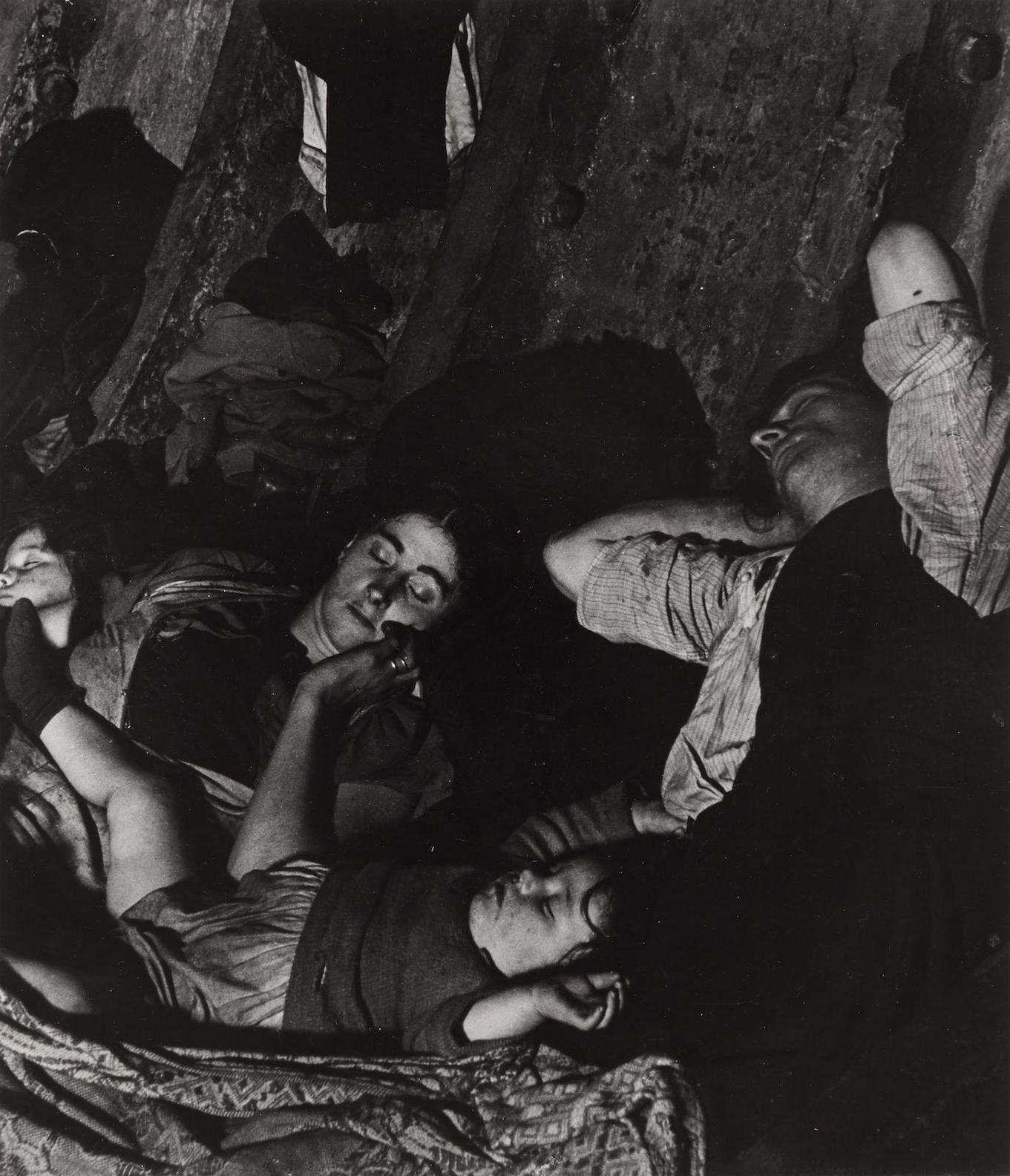 Bill Brandt-Crowded Improvised Air-Raid Shelter In Liverpool Street Tube Tunnel-1940
