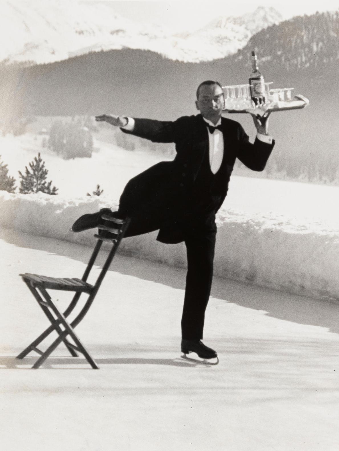 Alfred Eisenstaedt-Ice Skating Waiter, Grand Hotel, St. Moritz-1932