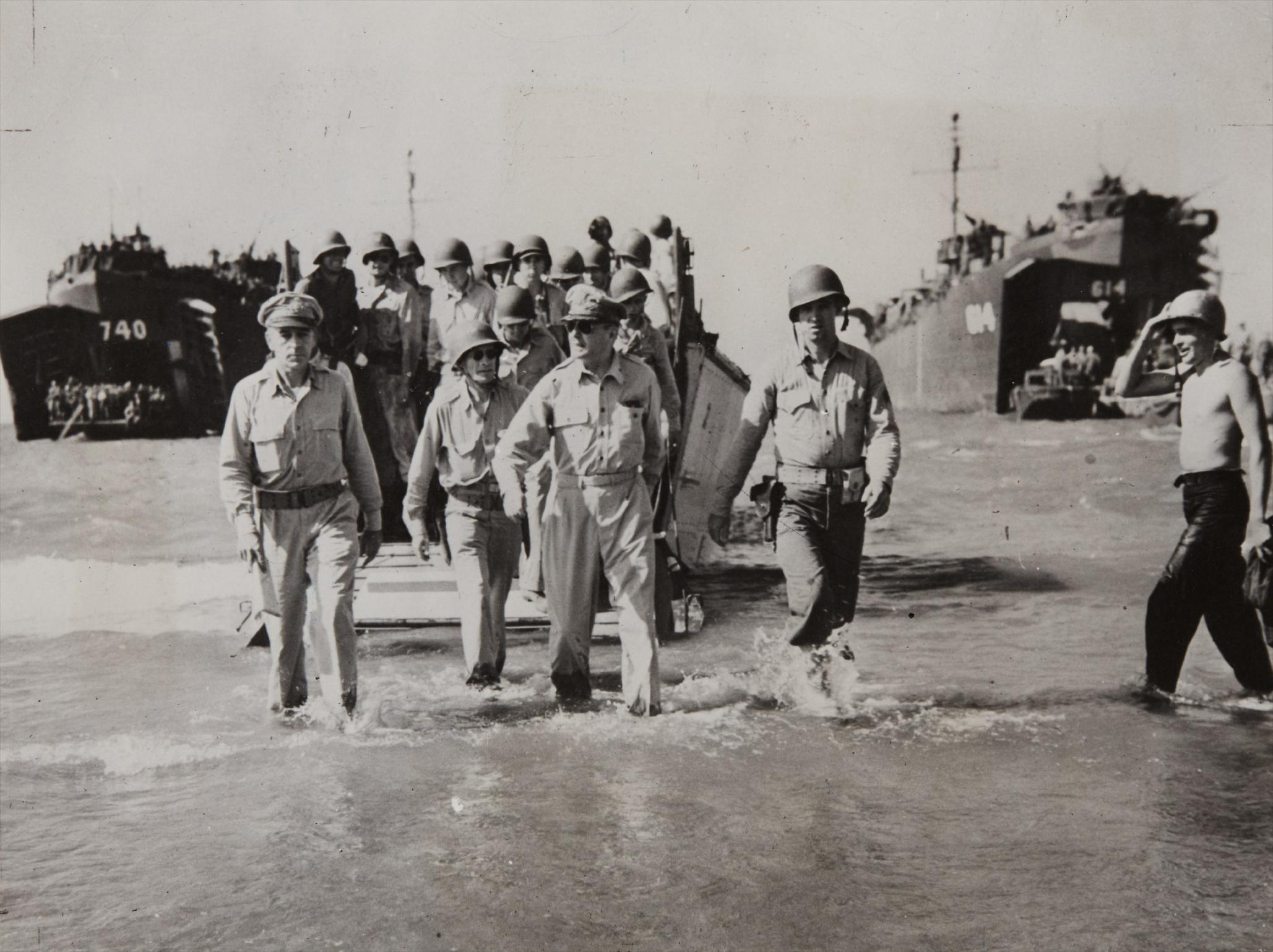 Carl Mydans - Gen. Douglas Macarthur With Gen. Richard Sutherland And Col. Lloyd Lehrbas Walks Through The Surf To The Beach At Lingayen, Luzon, The Philippines-1945
