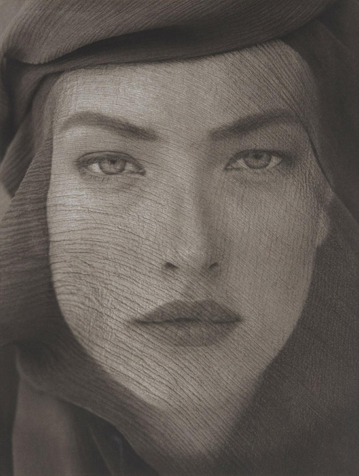 Herb Ritts-Tatjana Veiled Head (Tight View), Joshua Tree-1988