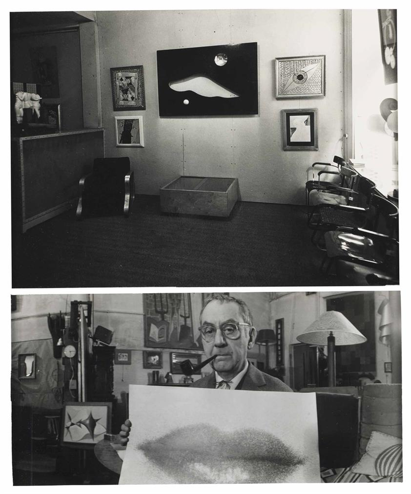 Man Ray-Exposition Man Ray, Cahiers Dart, Paris, 1935 [Man Ray] And Man Ray Holding A Print Of Lips In His Paris Apartment, 1961 [Loomis Dean]-