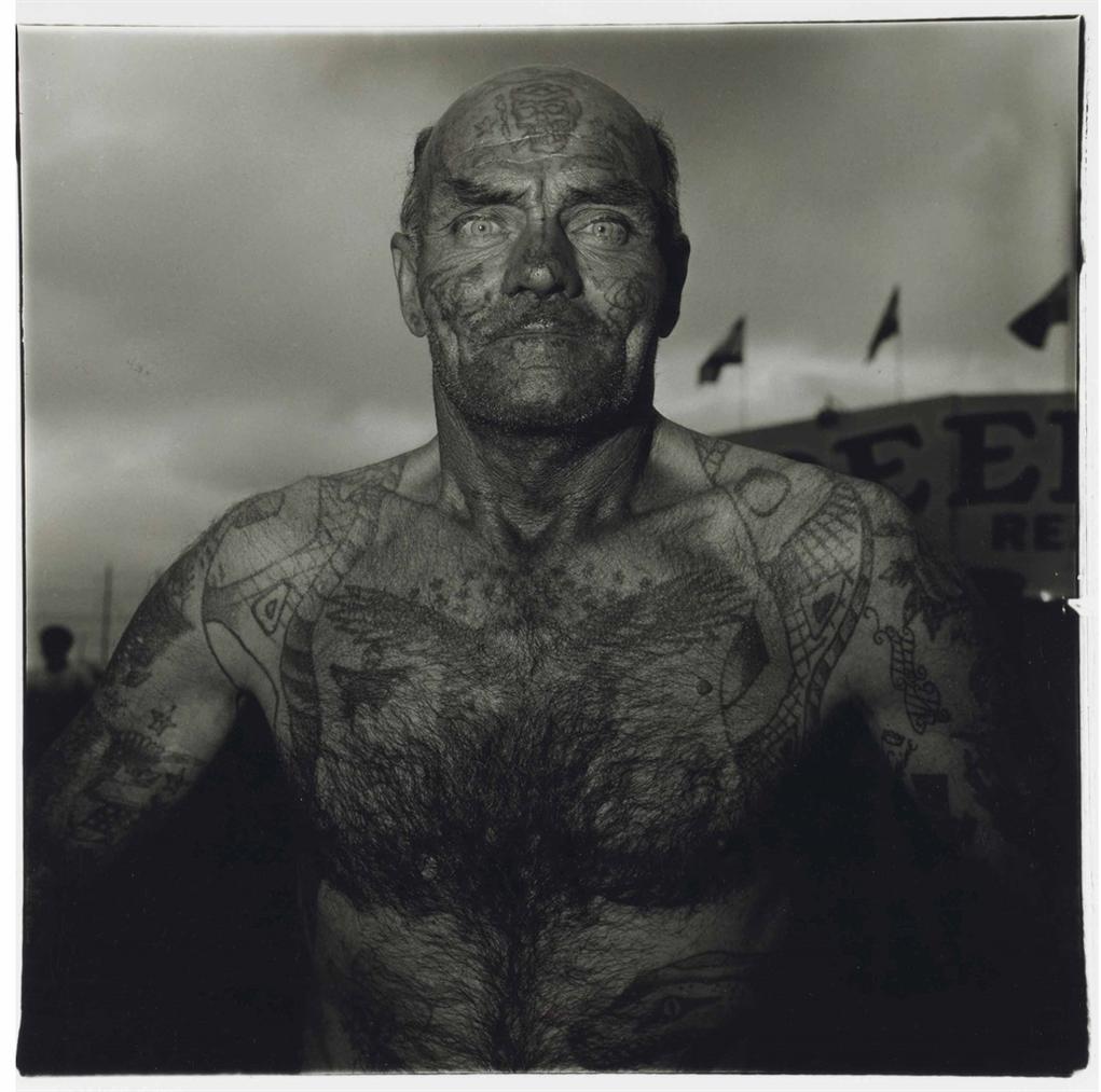 Diane Arbus-Tattooed Man At A Carnival, Md.-1970
