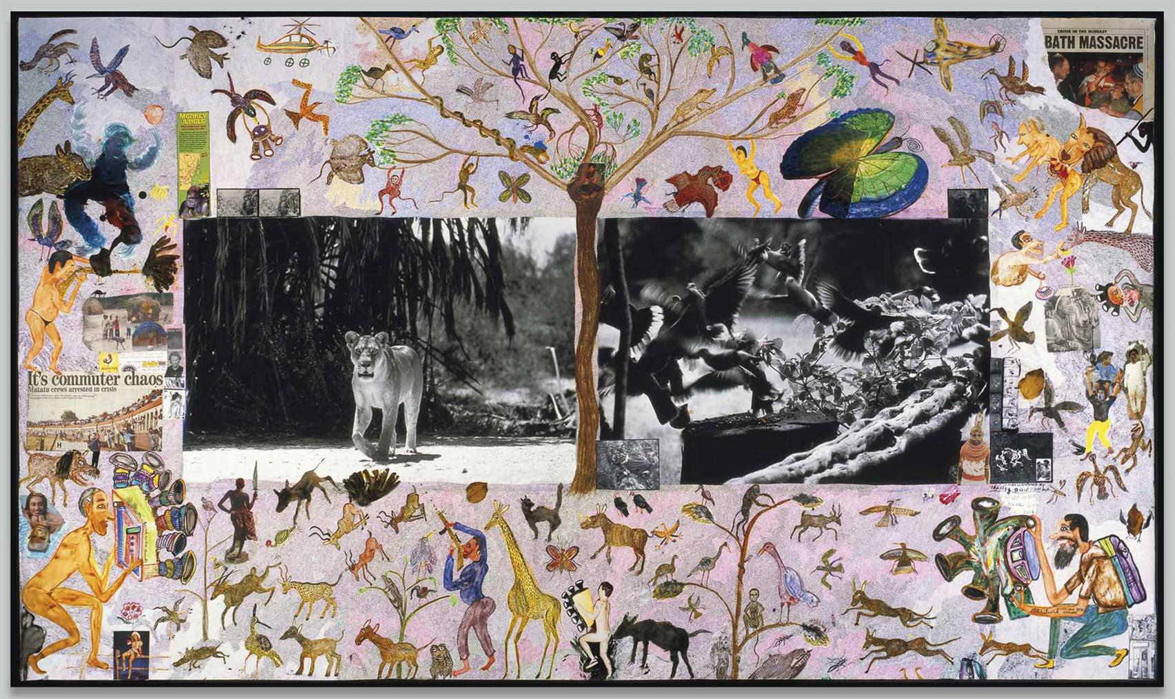 Peter Beard-Lioness And Birds-1984