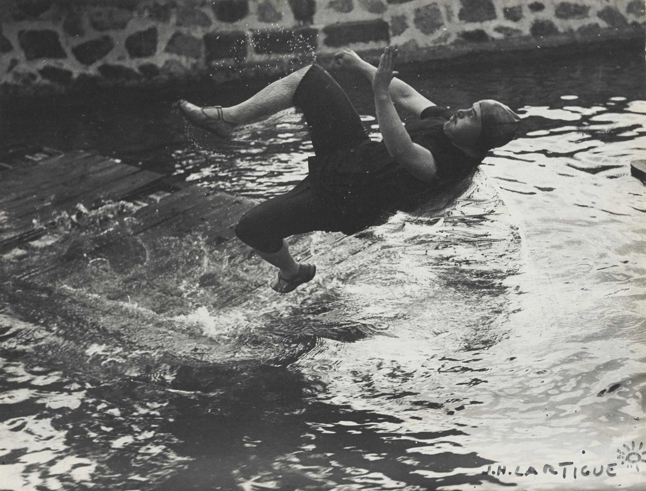 Jacques Henri Lartigue-Swimming Pool At Chateau De Rouzat, My Cousin Jean Haguet-1910