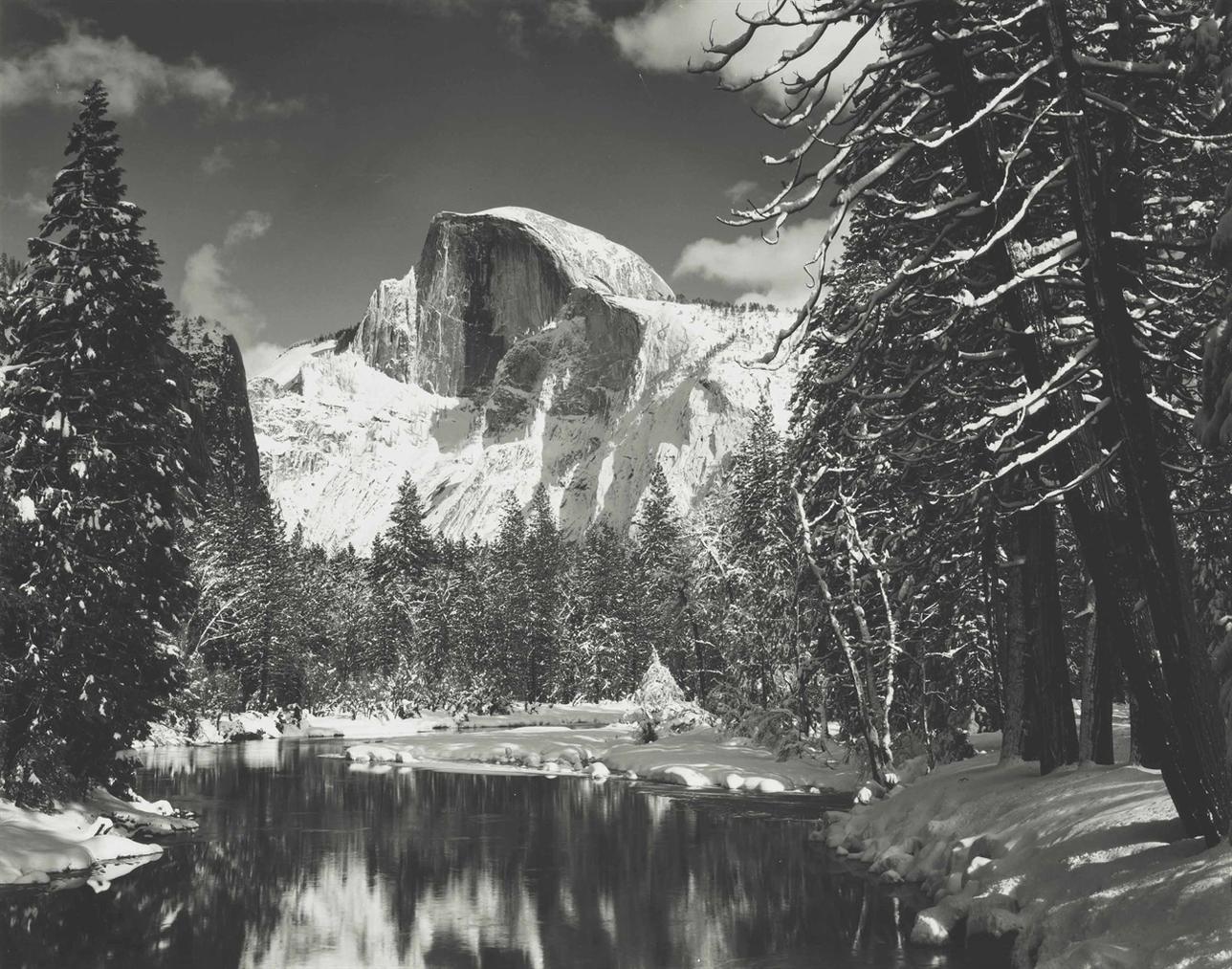 Ansel Adams-Half Dome, Merced River, Winter, Yosemite National Park, California-1938