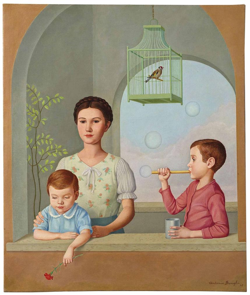 Antonio Donghi - Ragazzi Alla Finestra-1947
