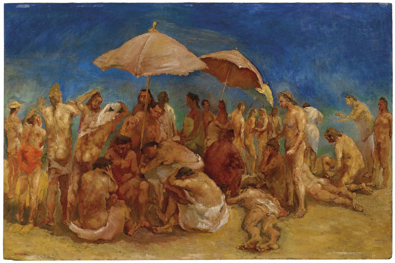 Fausto Pirandello-Spiaggia Affollata-1939