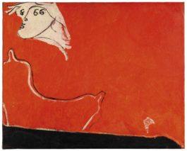 Osvaldo Licini-Amalassunta Su Fondo Rosso Chiaro-1949