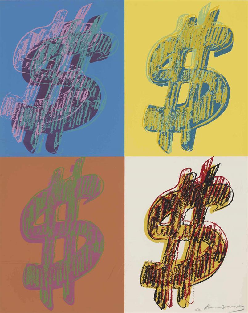 Andy Warhol-$ (Quadrant): One Plate-1982