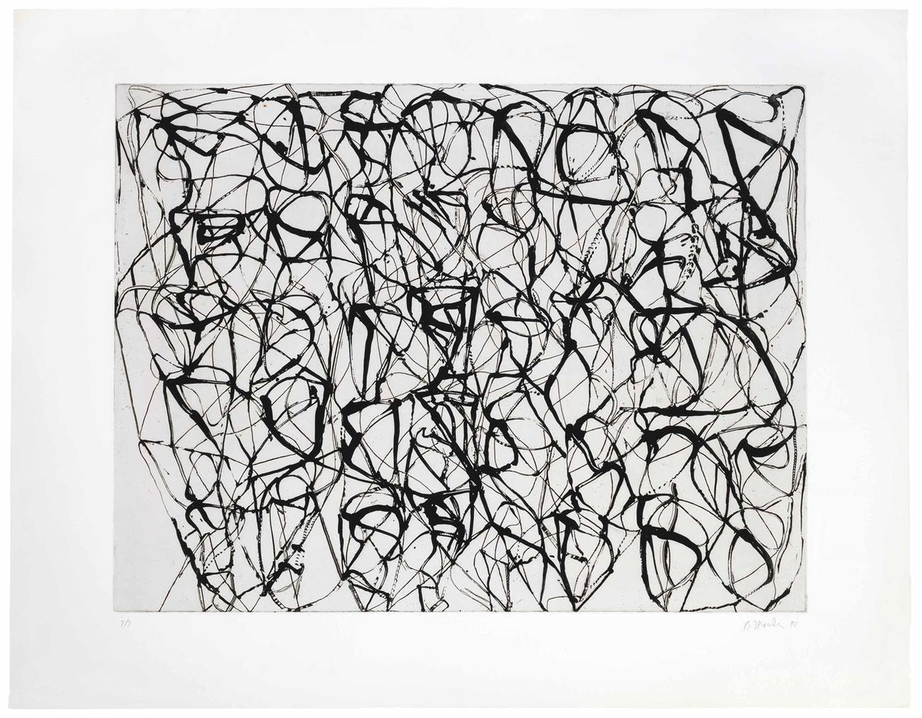 Brice Marden-#4, From Cold Mountain Series, Zen Studies (Early State)-1990