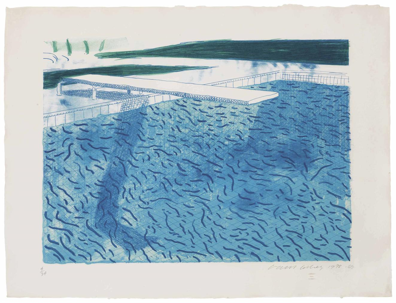 David Hockney-Lithograph Of Water Made Of Thick And Thin Lines And A Light Blue And A Dark Blue Wash-1980