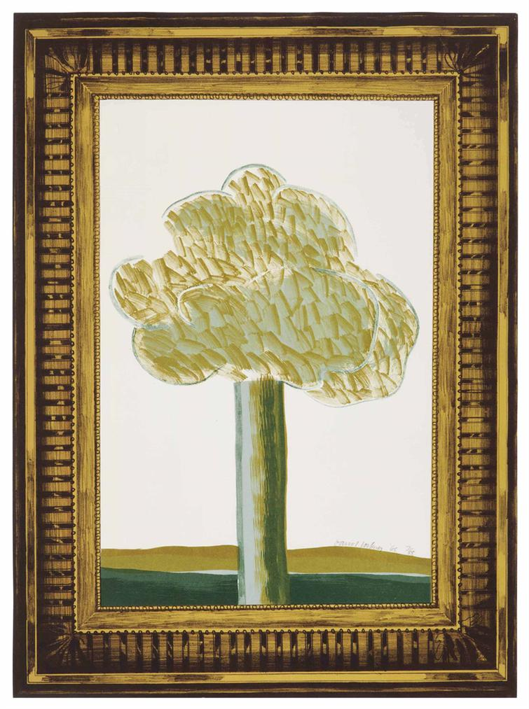 David Hockney-A Picture Of A Landscape In An Elaborate Gold Frame, From A Hollywood Collection-1965