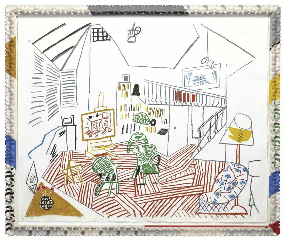 David Hockney-Pembroke Studio Interior, From Moving Focus-1984