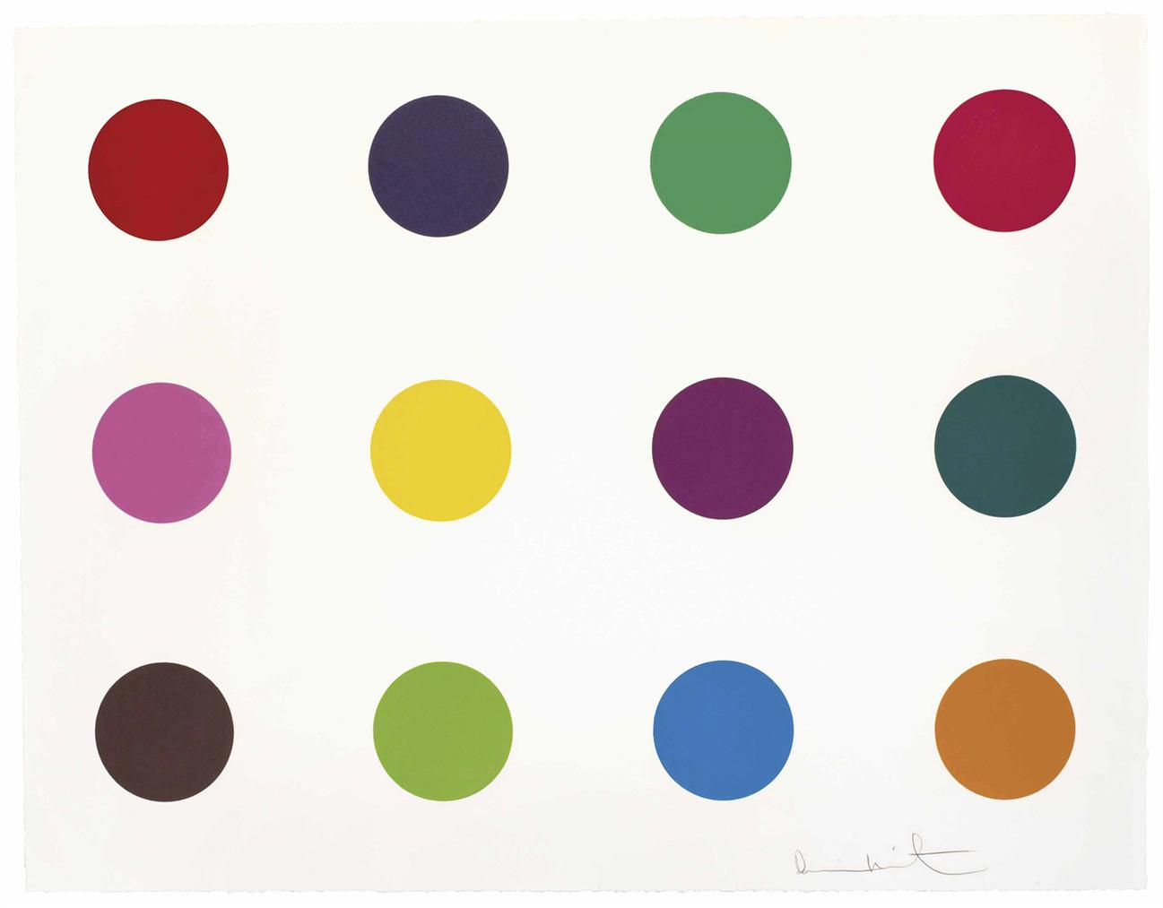 Damien Hirst-Methionine, From 12 Woodcut Spots-2010