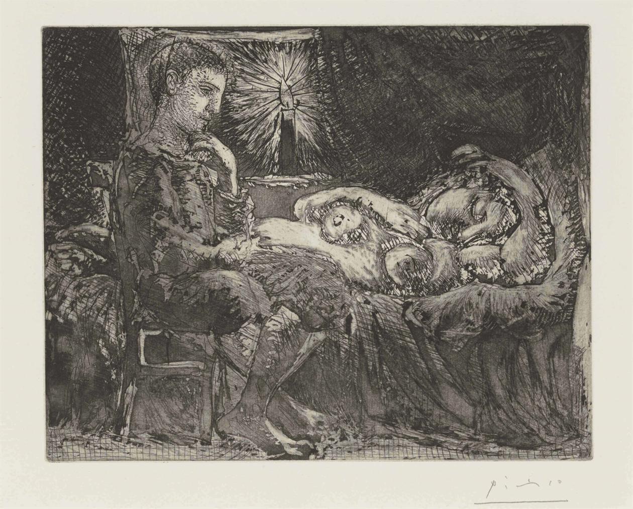 Pablo Picasso-Garcon Et Dormeuse A La Chandelle, From La Suite Vollard-1934
