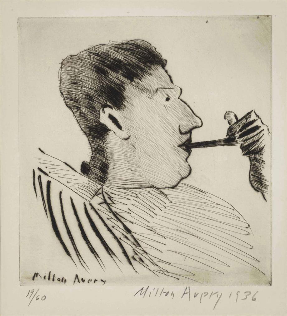 Milton Avery-Rothko With Pipe-1936