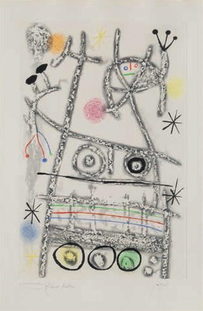 Joan Miro-Les Forestiers (Grey)-1958