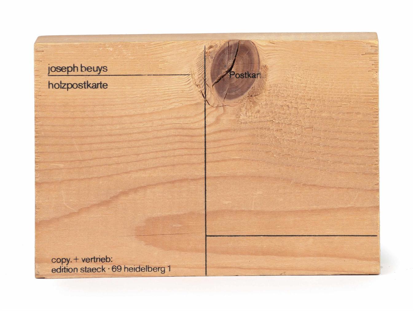 Joseph Beuys-Holzpostkarte (Wood Postcard)-1974