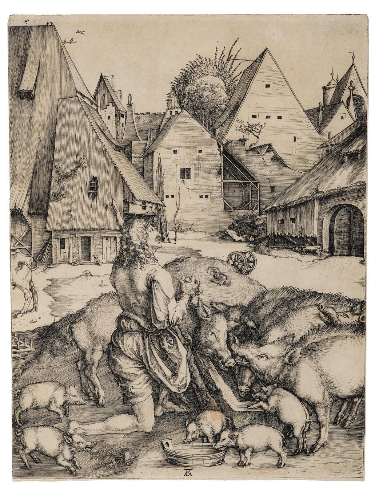 Albrecht Durer-The Prodigal Son (B., M., Holl. 28; S.M.S. 9), 1496-