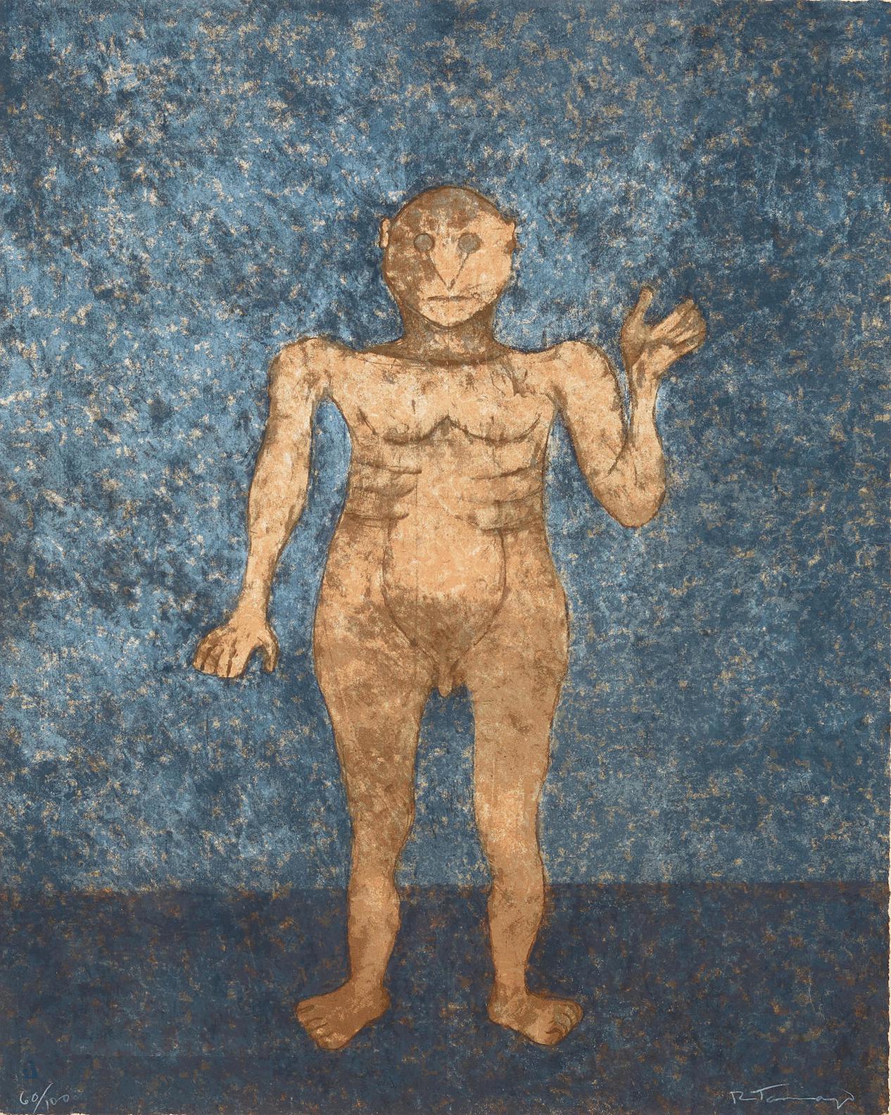 Rufino Tamayo-Hombre En Ochre (P. 337)-1989