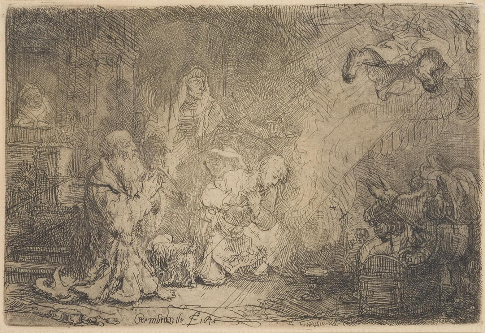 Rembrandt Harmensz Van Rijn - The Angel Departing From The Family Of Tobias (B. 43; H. 185; New. Holl. 189)-1641