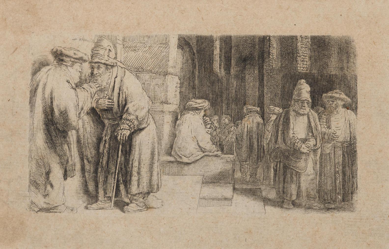 Rembrandt Harmensz Van Rijn - Jews In The Synagogue (B. 126; H. 234; New Holl. 242), 1648-