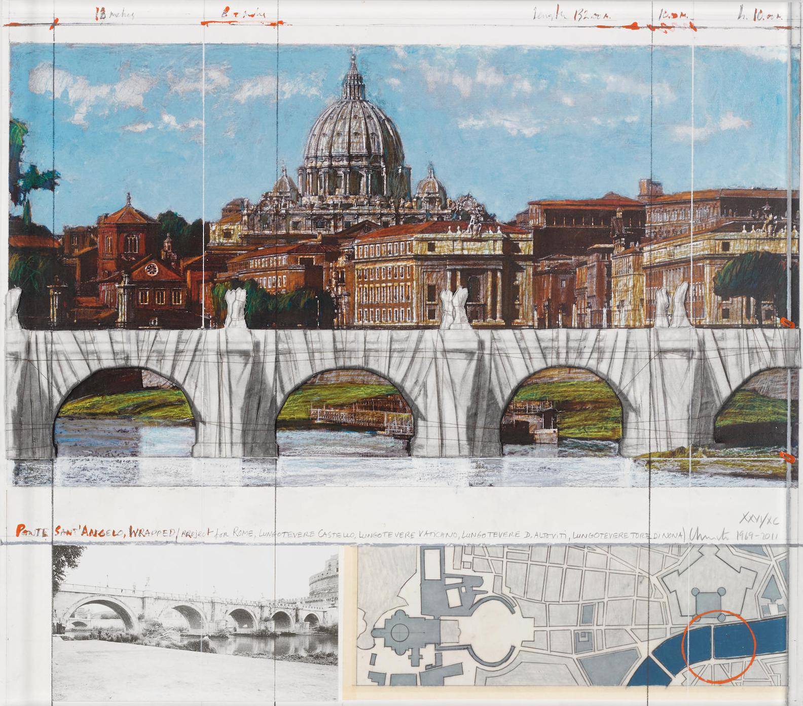 Christo and Jeanne-Claude-Ponte Santangelo, Wrapped, Project For Rome (S. 205)-2011