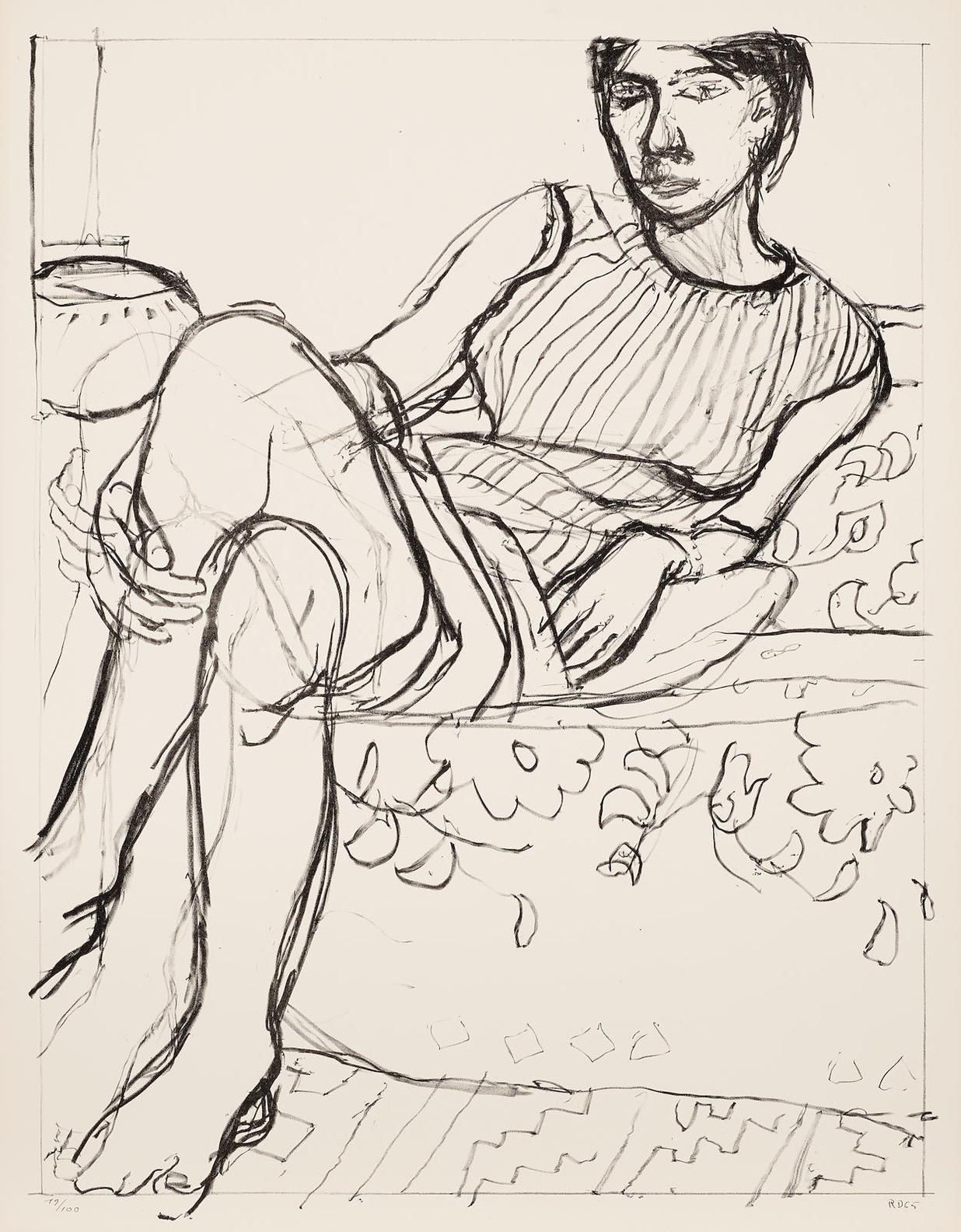 Richard Diebenkorn-Seated Woman In Striped Dress, From Seated Woman Series-1965