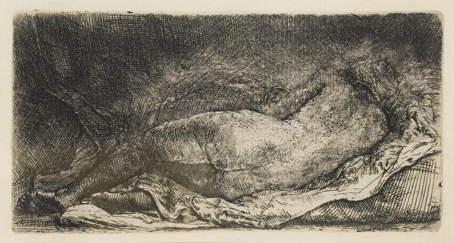 Rembrandt Harmensz Van Rijn - Reclining Female Nude (B. 205; H. 299; New. Holl. 308)-1658