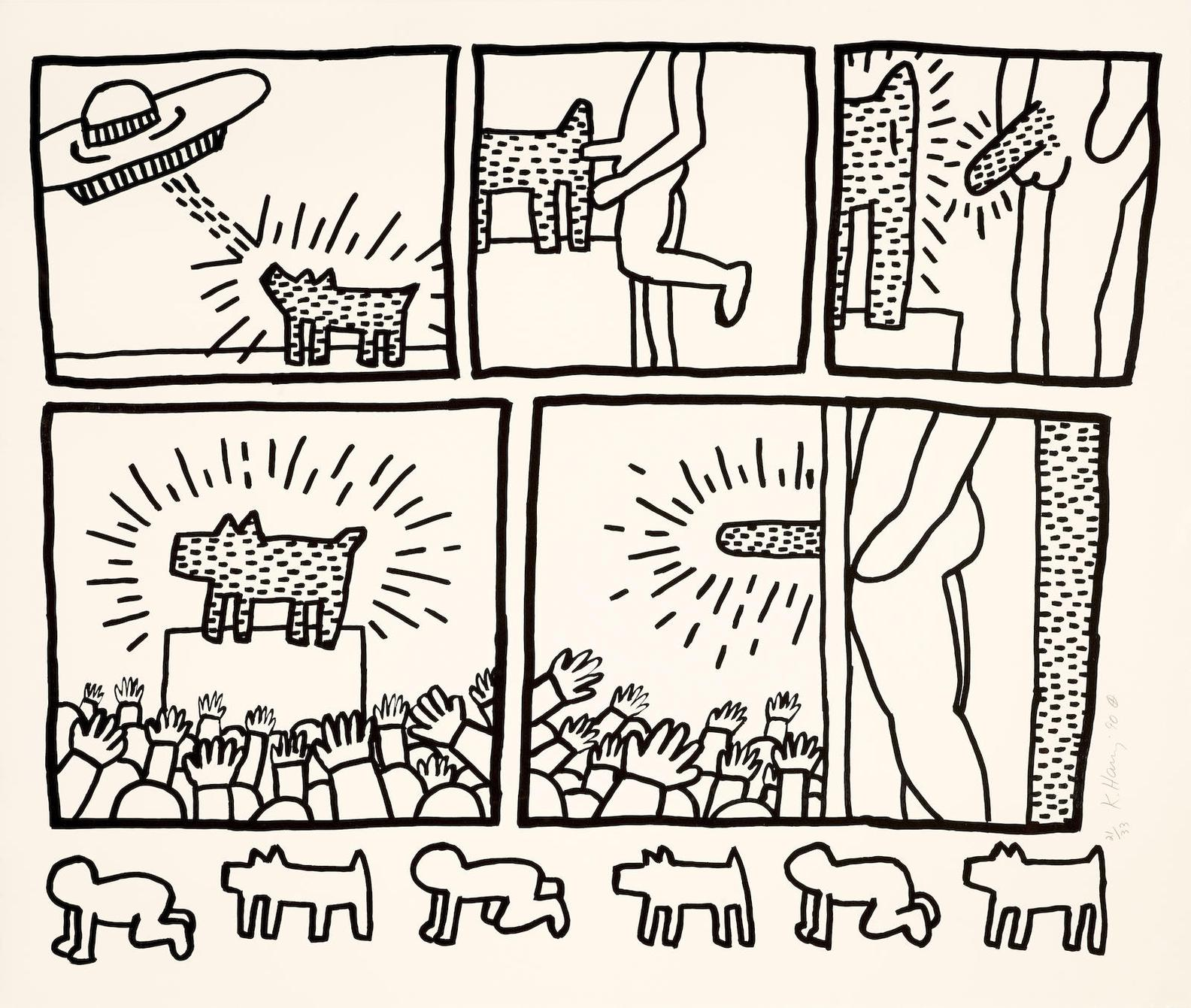 Keith Haring-Untitled, From The Blueprint Drawings (L. P. 181)-1990